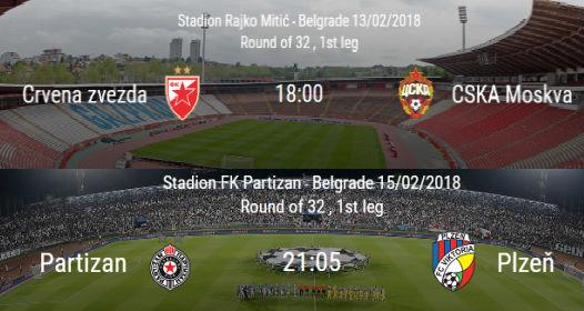ŽREB ZA NOKAUT FAZU UEFA LIGE ŠAMPIONA I LIGE EVROPE: Srpski klubovi opet dobro prošli, Partizan protiv Plzenja, Zvezdin rival CSKA