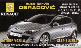 AUTO SERVIS OBRADOVIĆ 021 NOVI SAD RENAULT DELOVI ŠLEP SLUŽBA KOMBI PREVOZ